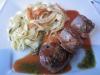 Veau sauce tomate et ses tagliatelles aux épices